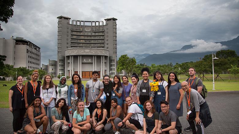SJC students in front of Tzu Chi University in Taiwan.