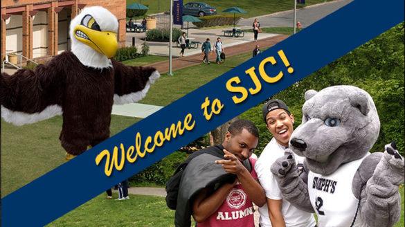 "SJC Long Island's mascot and SJC Brooklyn's mascot ""Welcome to SJC!"""