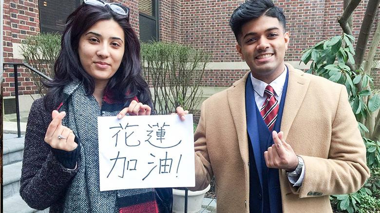 SJC Brooklyn students raising awareness about Taiwan earthquake relief efforts.