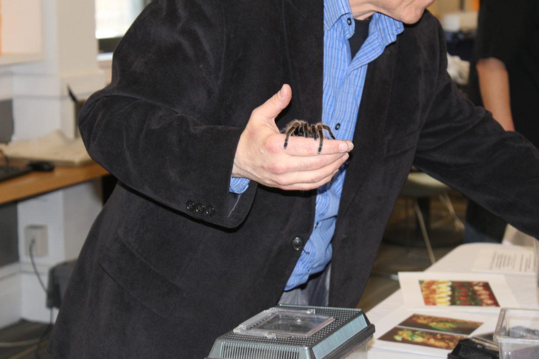 Sorkin holding a tarantula.