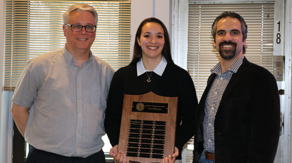 Gabrielle Cinquemani, recipient of the award, with Dr. Frank Antonawich, Sr., and Dr. Konstantine Rountos, creator of the award.