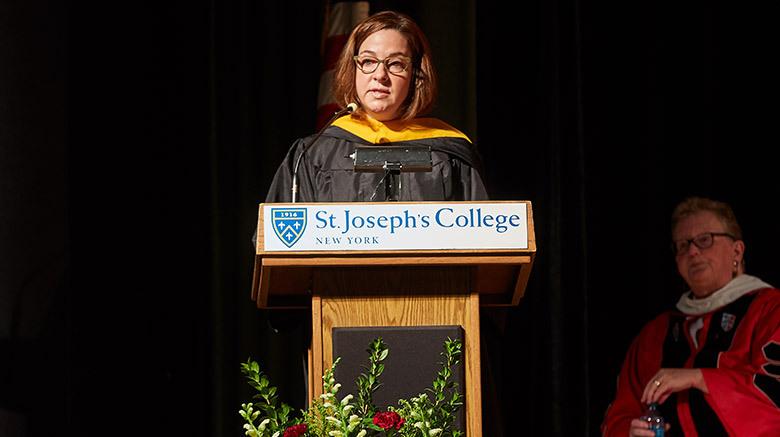 Michelle Frati at President Boomgaarden's SJC Long Island installation ceremony.