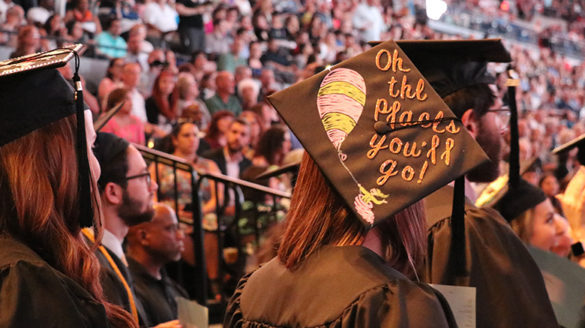 Back of graduation cap at commencement ceremony