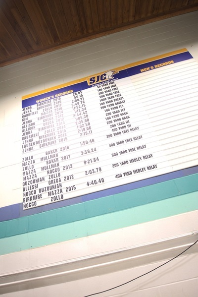 SJC Long Island's swim team record board.
