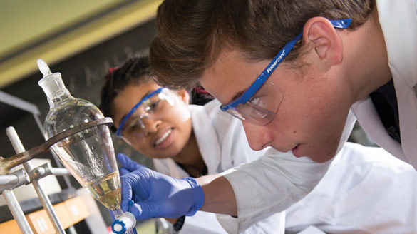 Students in one of SJC's science labs.