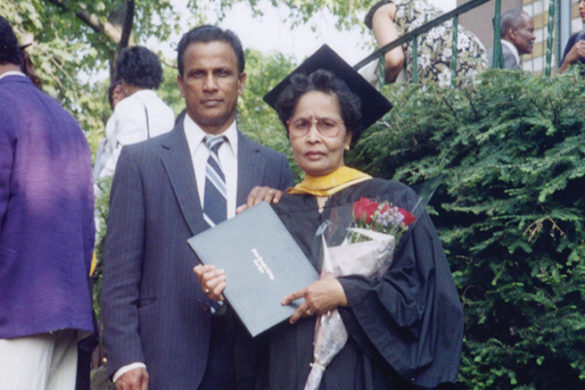 Rajdai Elizabeth Outar with her husband Seobarran James in 1996 when she graduated from SJC Brooklyn.