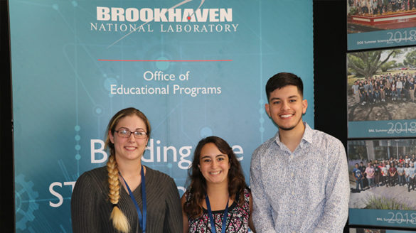 Students Jeami Van Weele, Alyssa Quinn and Jorge Diaz Jr. at BNL.