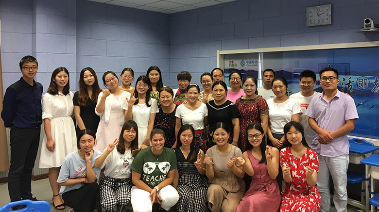 Emily Davies with the Chinese English teachers she taught this summer.