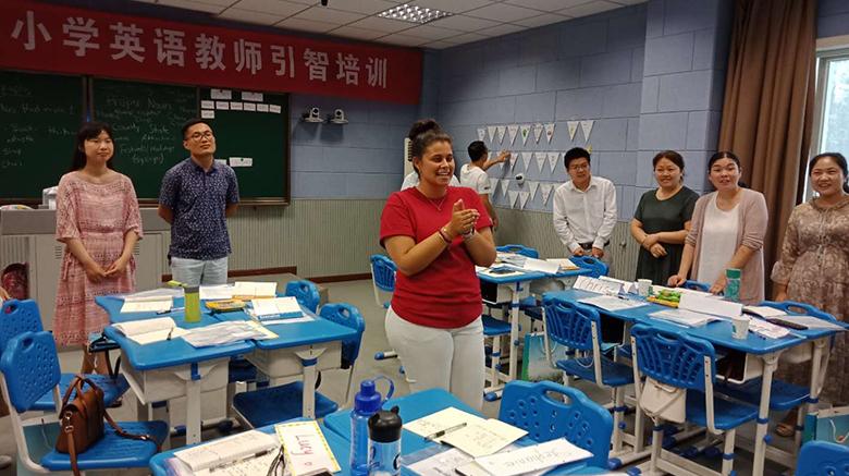Emily Davies teaching in China.