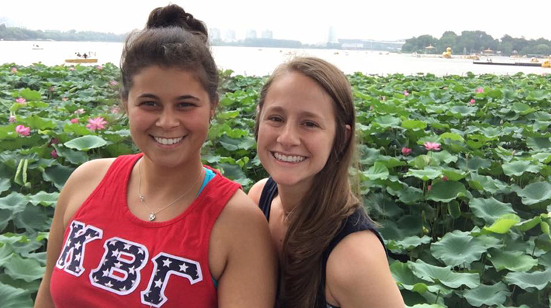Emily Davies and Alyssa Patterson in China.