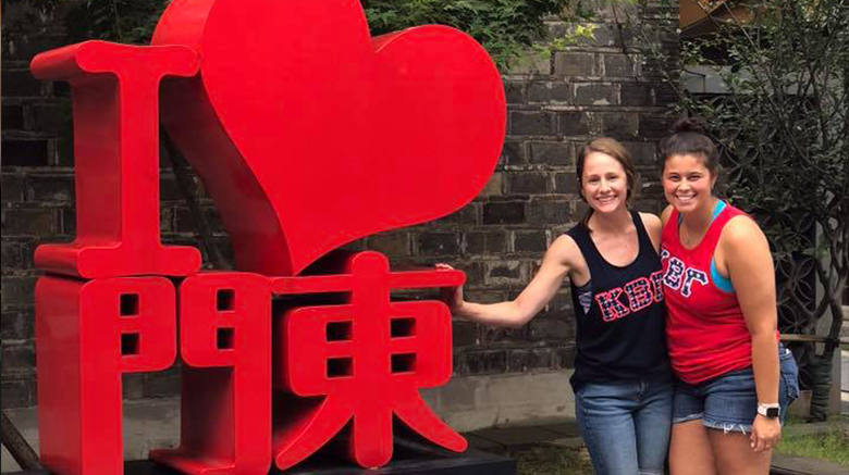Alyssa Patterson '13 and Emily Davies '14 in China.