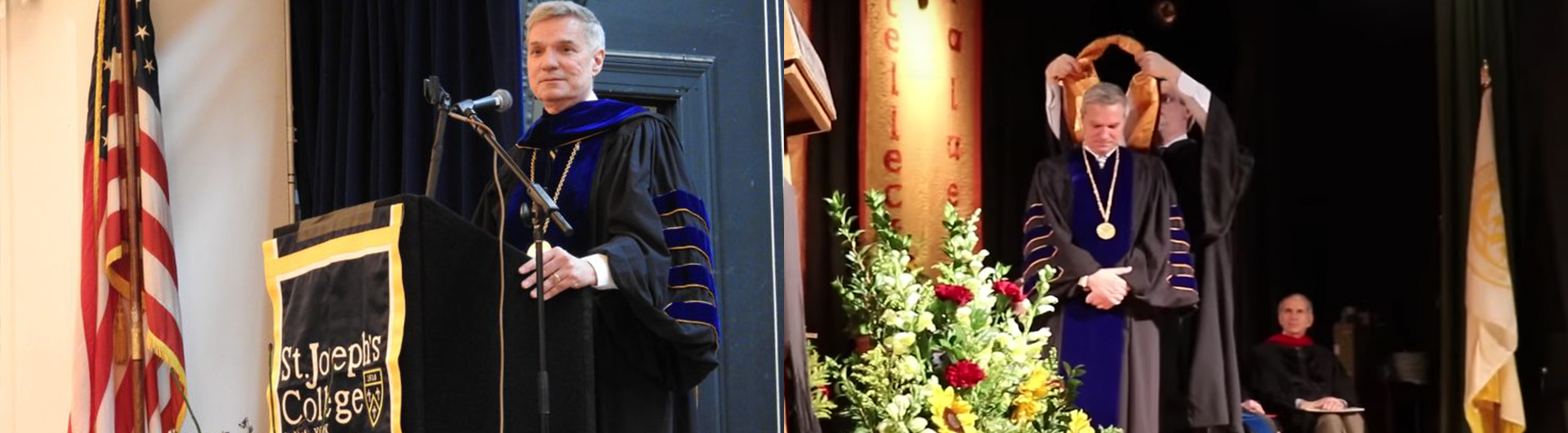 St. Joseph's President Donald R.Boomgaarden, Ph.D., being installed at SJC Long Island and SJC Brooklyn in March 2018.