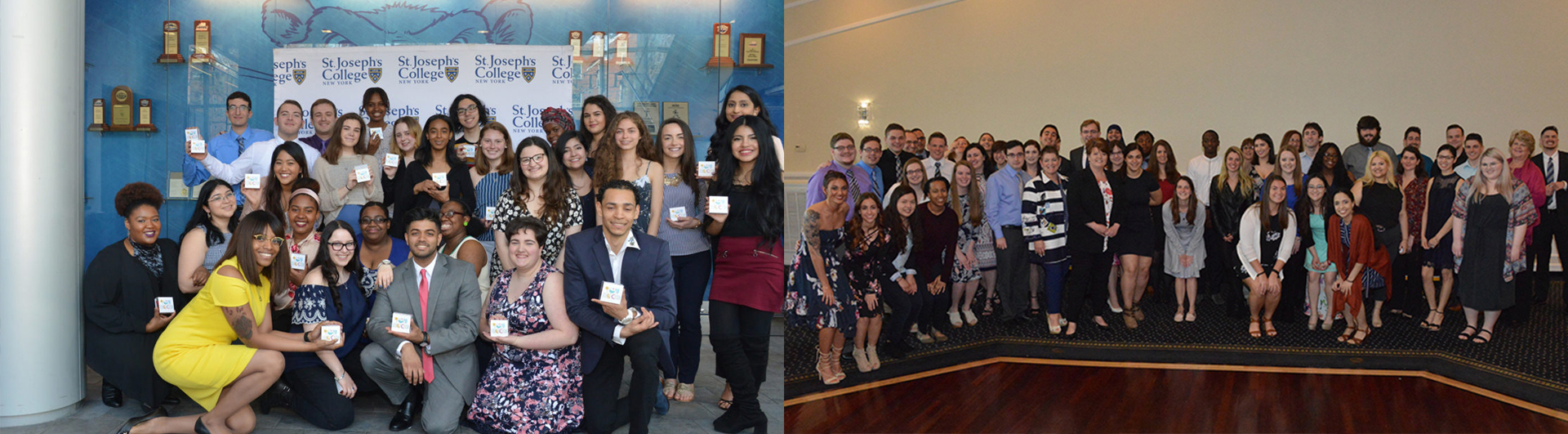 Student leaders and seniors at both campuses' leadership luncheons in 2018.