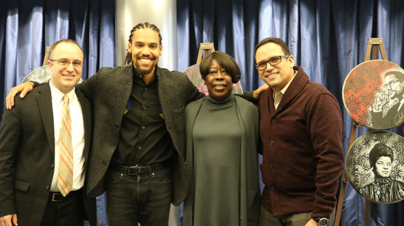 Pierce Freelon and Bettie Mae Fikes with two College staff members.