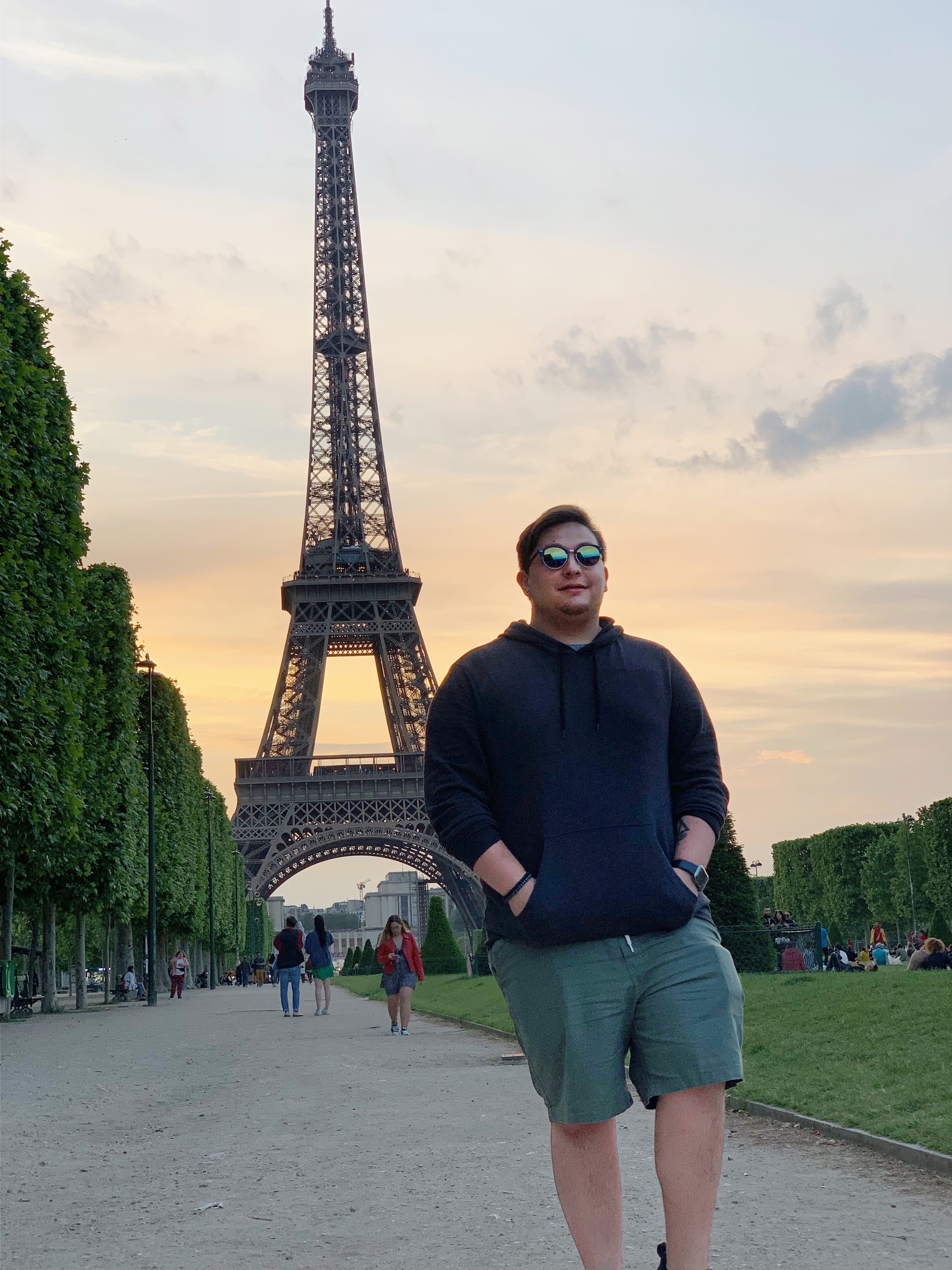 Morales in front of the Eiffel Tower.