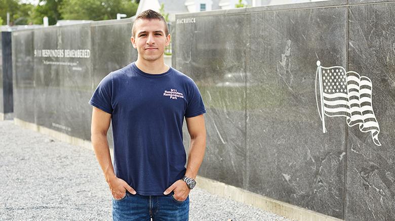 Charlie Gambino at the 9/11 Responders Remembered Park.