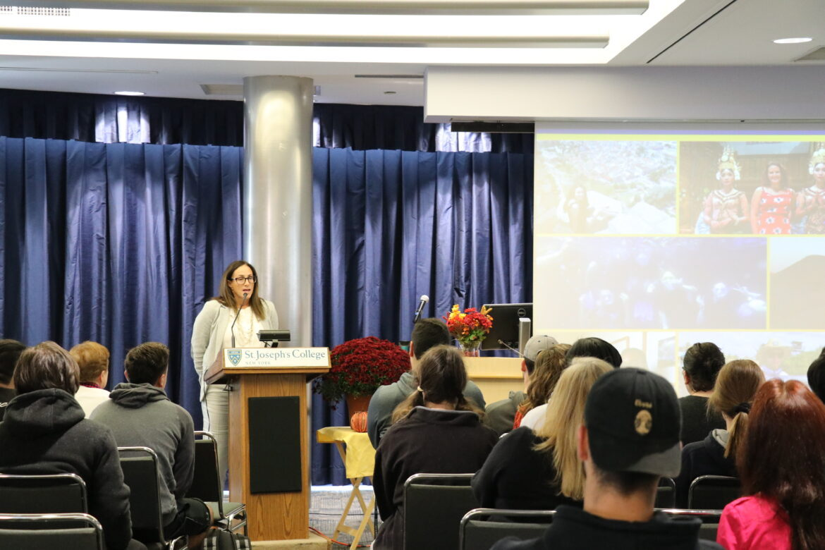 Faculty member speaking at the Study Abroad Conference.