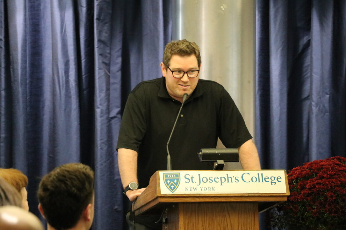 Adam Sherlip speaking at the Study Abroad Conference.