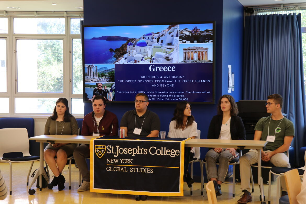 A panel of students who traveled abroad with St. Joseph's.