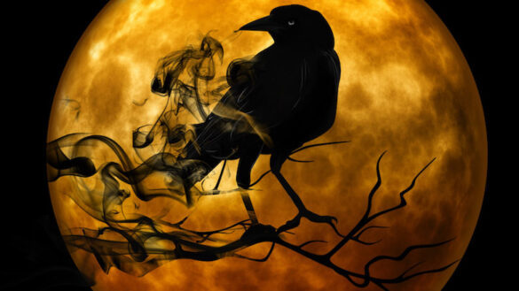 Black crow and smoke in front of a full blood moon.