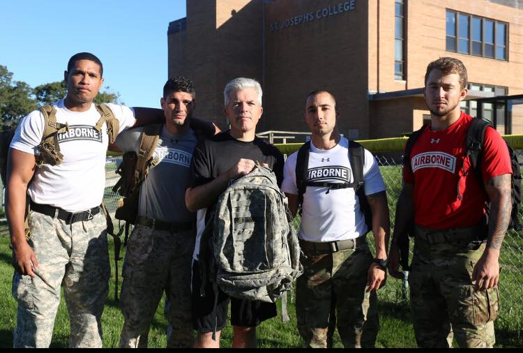 John Davis with other student veterans and County Executive Steve Bellone on campus.