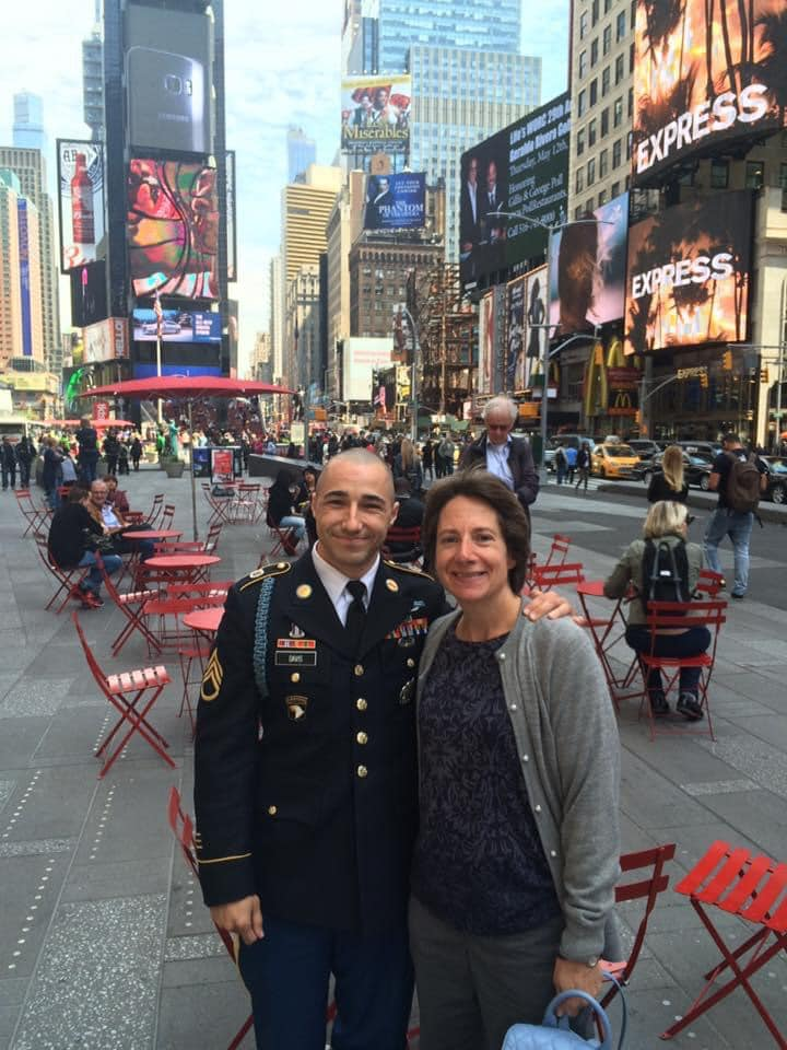 John Davis with his aunt in Times Square.