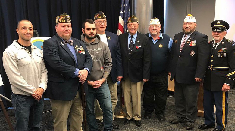 John Davis with other student veteran and members of the Patchogue VFW.