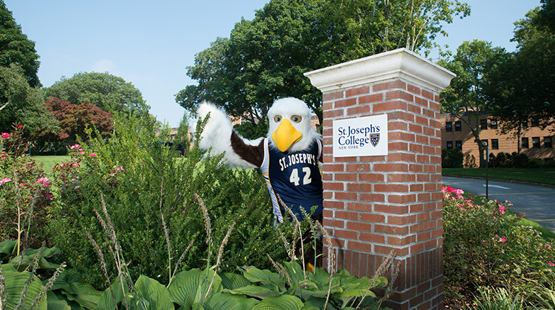 SJC Long Island mascot Hot Wyngz welcoming accepted students for Admitted Student Day.