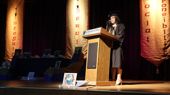 Student speaking at the Baccalaureate Prayer Service.