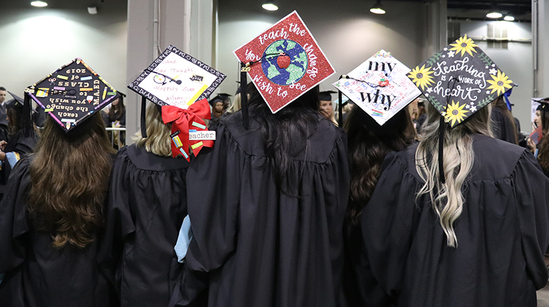 Decorated graduation caps from SJC Long Island's 2019 commencement.
