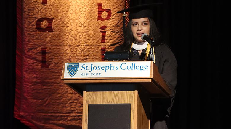 Undergraduate speaker Yicel Moreno addressing her classmates during the Baccalaureate Prayer Service.