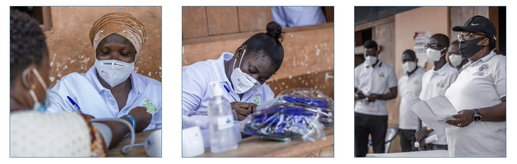 Photos of healthcare workers helping out through RuralGo Health Foundation.